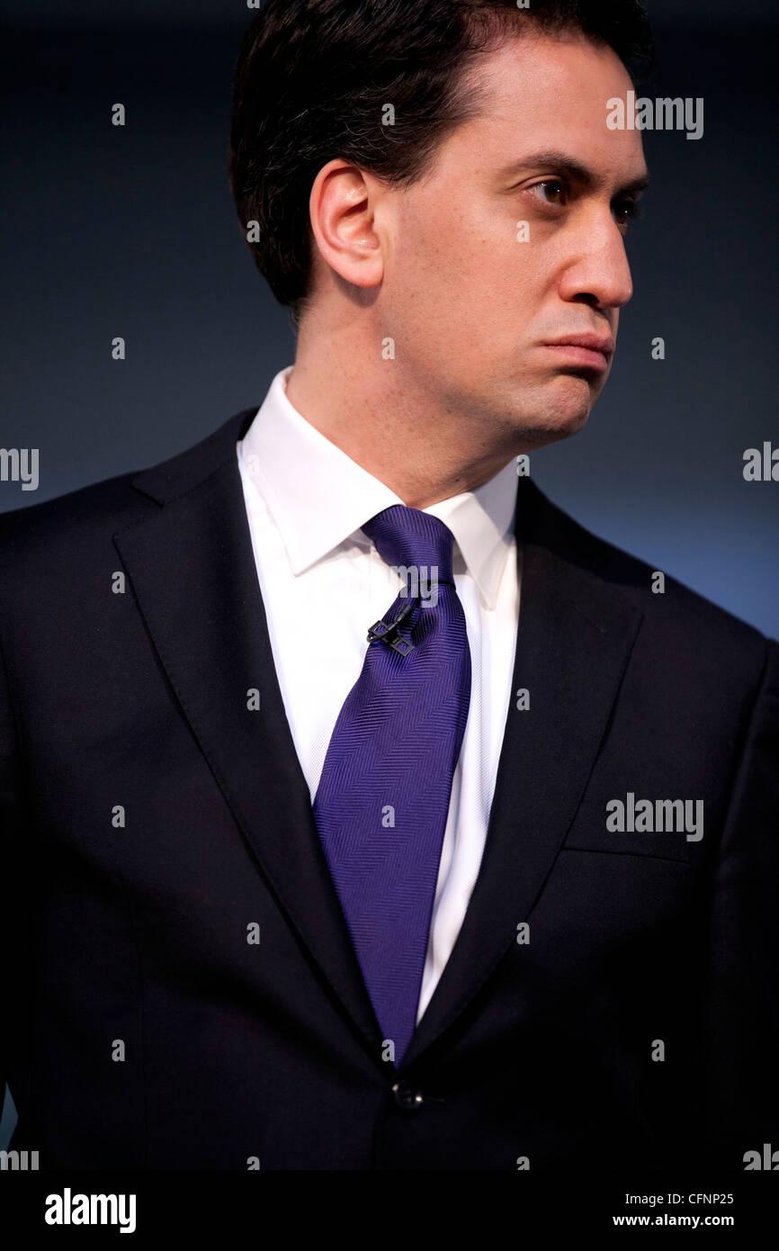 Travail et Leader de l'opposition Ed Miliband photographié à la Conférence des Jeunes du travail Photo Stock