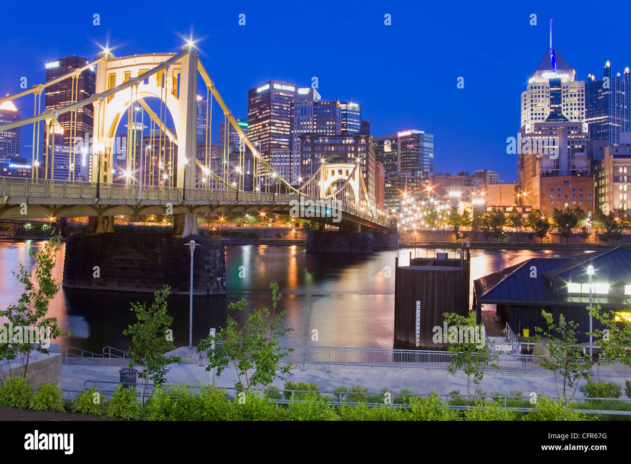 Roberto Clemente Bridge, Pittsburgh, Pennsylvanie, États-Unis d'Amérique, Amérique du Nord Photo Stock
