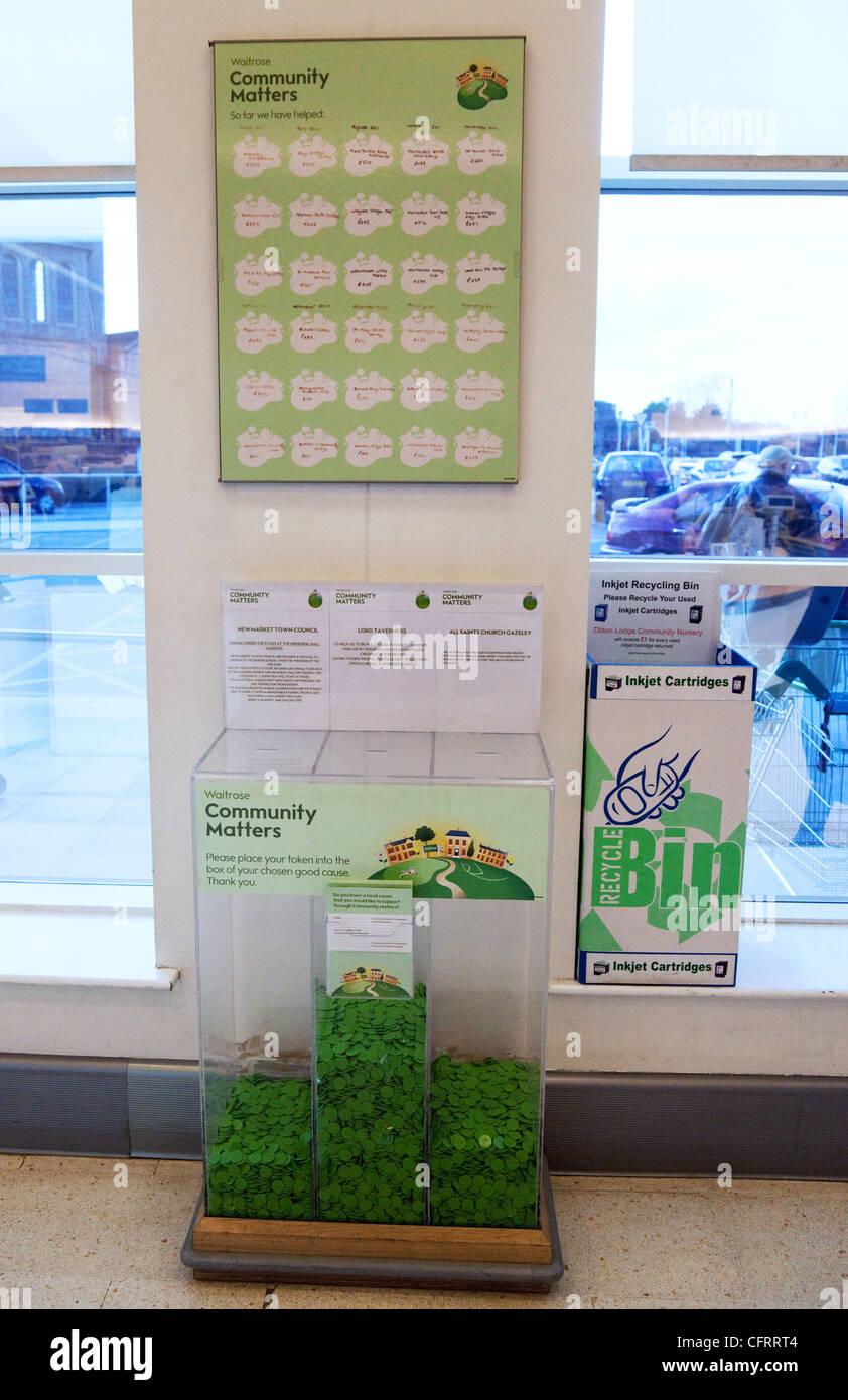 Les organismes de bienfaisance locaux bénéficiant de parrainage par Waitrose, Newmarket Suffolk UK Photo Stock