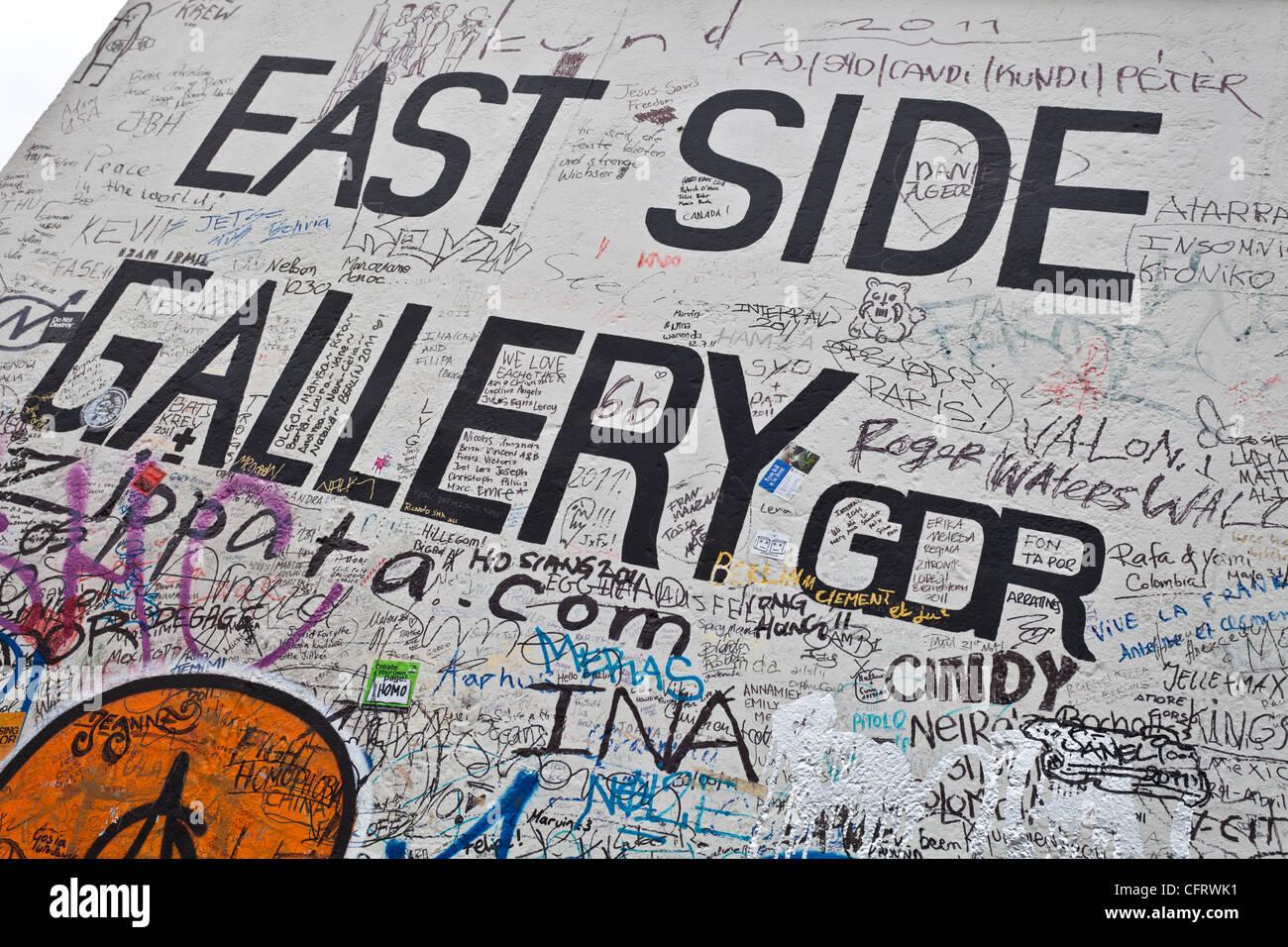 Célèbre East Side Gallery, la division de l'historique mur de Berlin Photo Stock