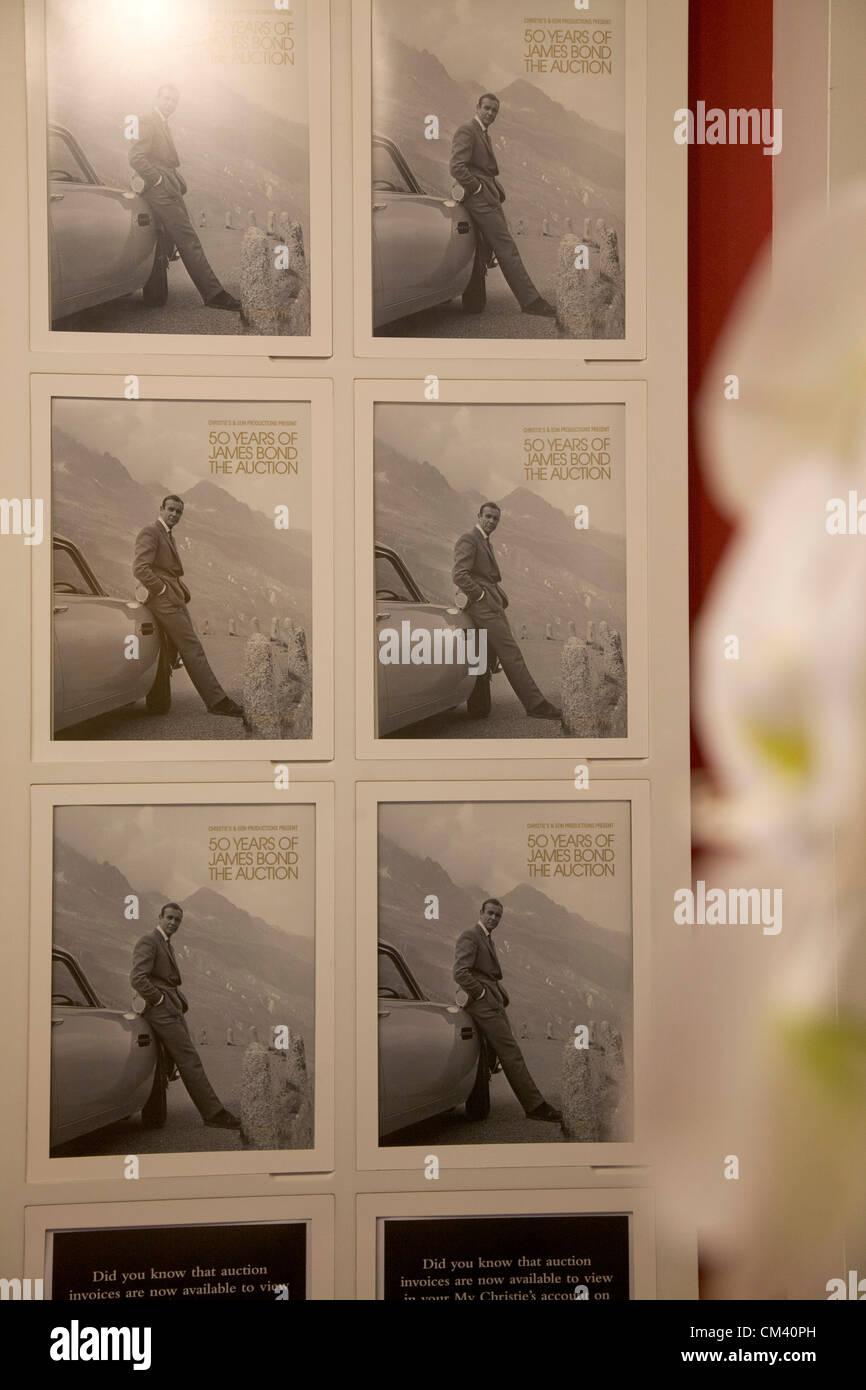 29 septembre 2012. London UK. Christie's organisent une vente aux enchères de James Bond souvenirs pour Photo Stock