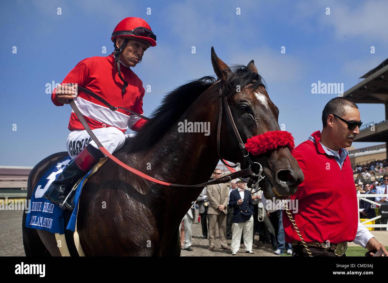 21 juillet 2012 - Del Mar, CA, É.-U. - Acclamation avec Patrick Valenzuela à bord remporte le Eddie Lire Photo Stock