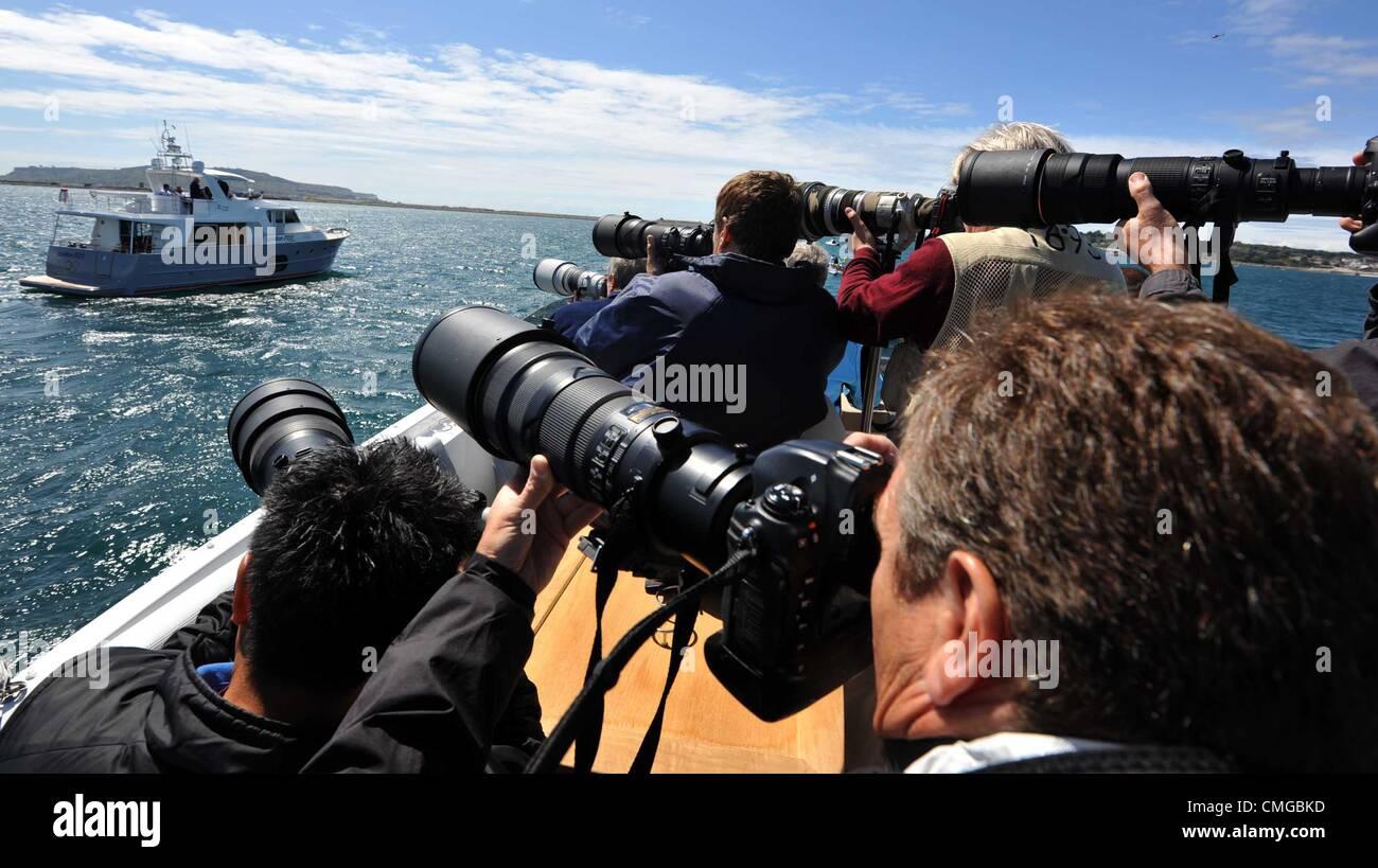 Jeux Olympiques de 2012 à Londres, Kate Middleton visite le site olympique de voile pour les Jeux Olympiques Photo Stock