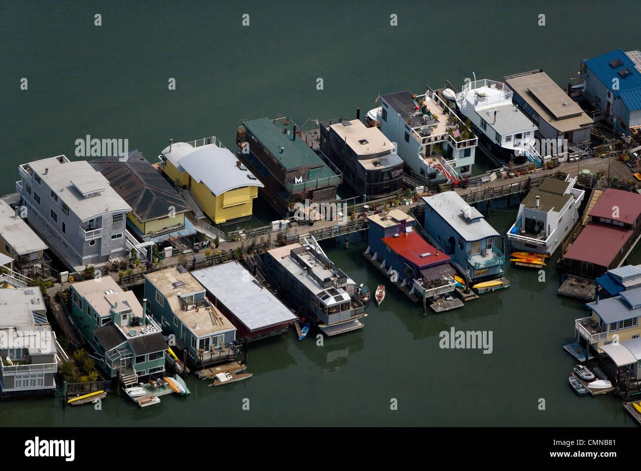 Photographie aérienne, houseboats Sausalito, comté de Marin, en Californie Photo Stock