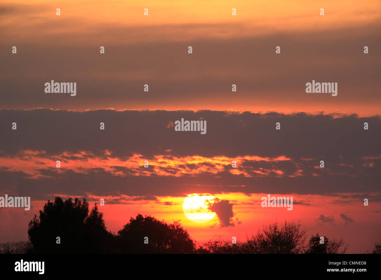 Coucher de soleil dans le paysage horizon Photo Stock