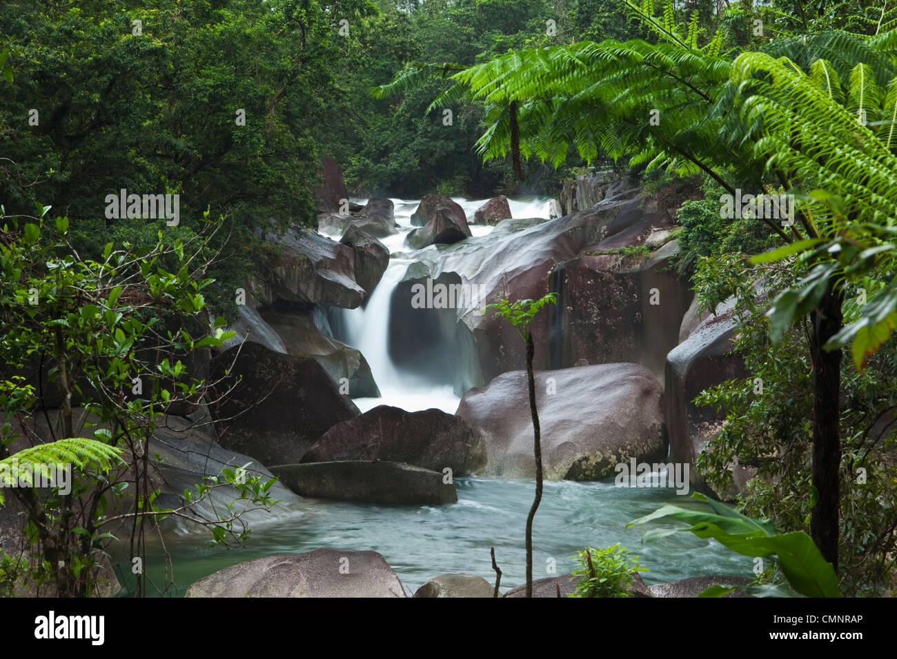 Voir à travers les forêts tropicales à Devil's Pool à Babinda Boulders. Babinda, Queensland, Photo Stock