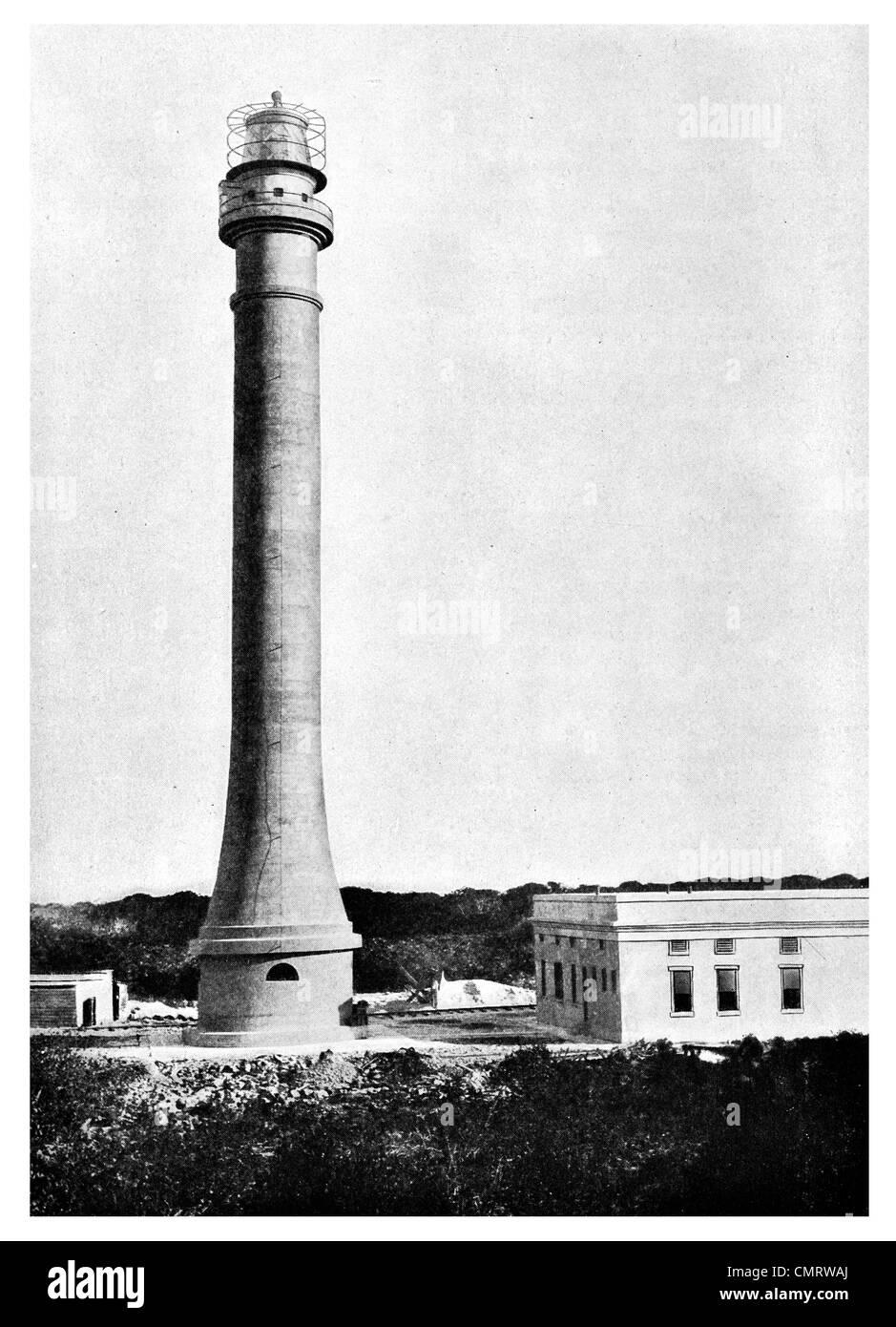 1918 United States phare Navassa béton service Antilles Mer des Caraïbes tour Banque D'Images