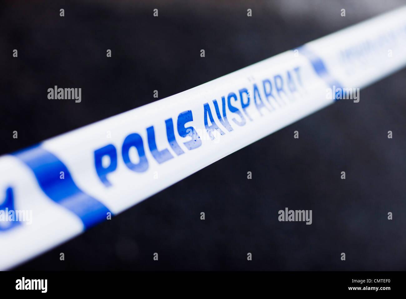 Close-up sur le blocus de la police Photo Stock