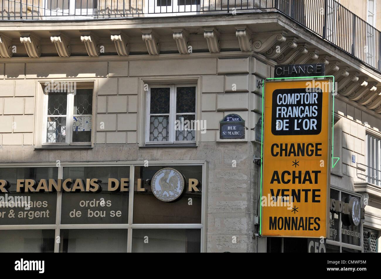 Comptoir Français de l'or rue Saint Marc Paris France Photo Stock