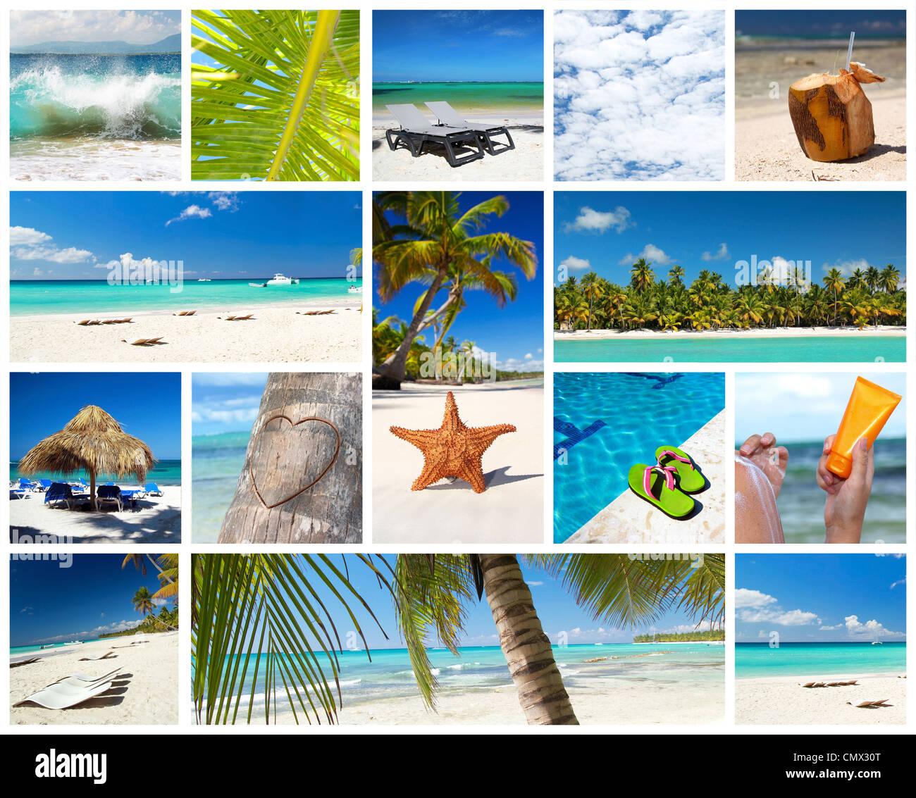 Collage des Caraïbes avec différentes parties de paysage tropical, République Dominicaine Photo Stock