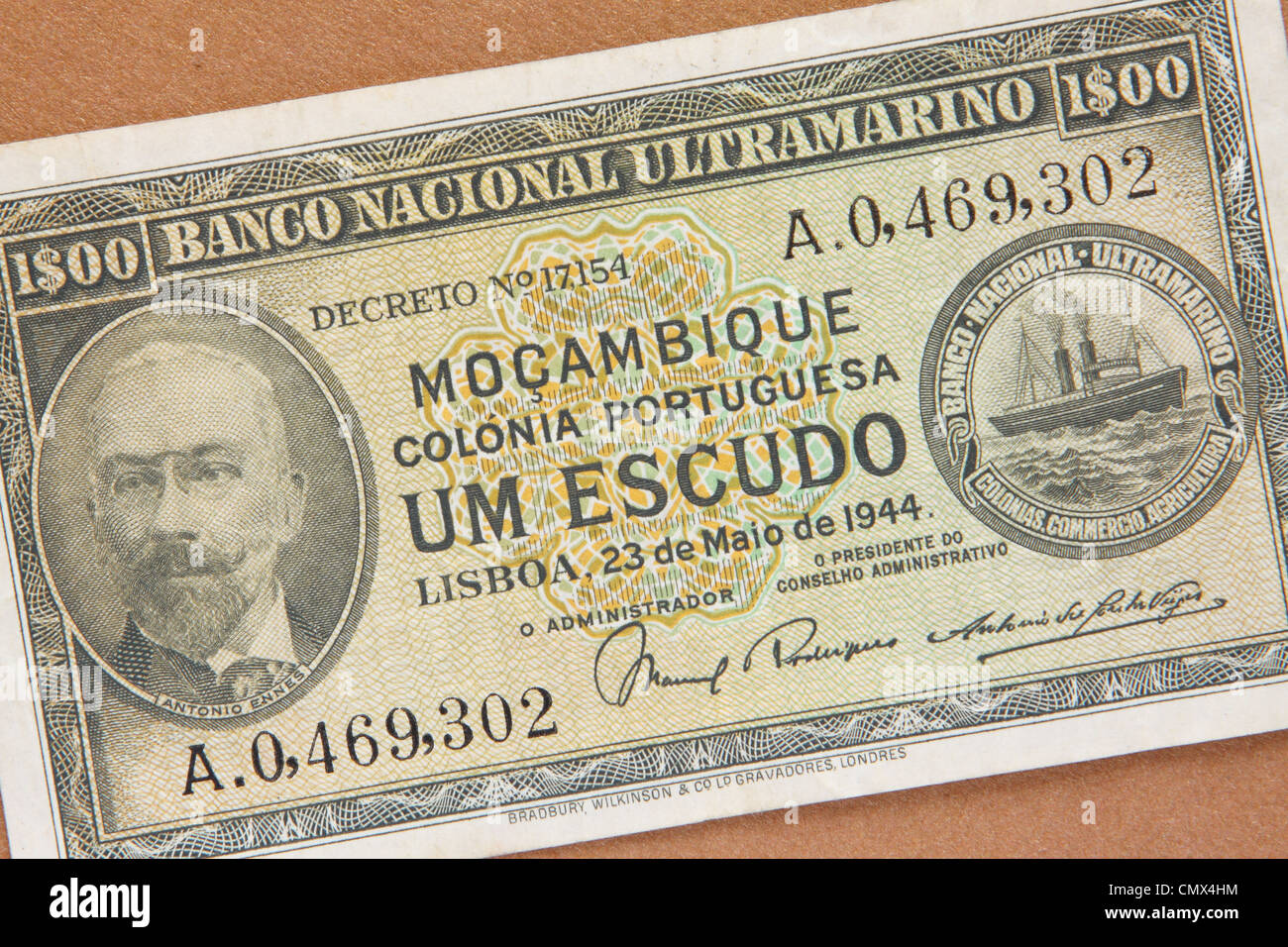 Mozambique - bank note à partir de l'ancienne colonie portugaise du Mozambique Mocambique daté 1944 Photo Stock