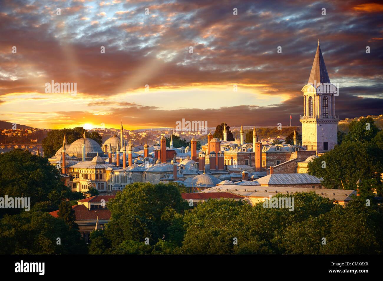 Les Sultans du palais de Topkapi au coucher du soleil, Istanbul, Turquie Photo Stock