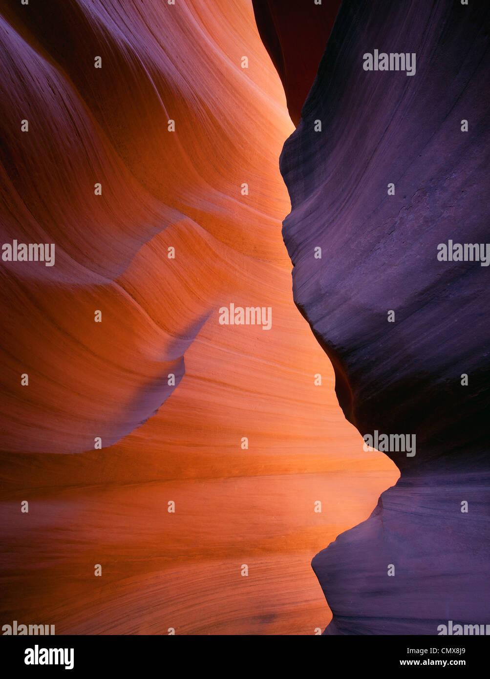 La lumière brille au Lower Antelope Canyon, Page, Arizona Photo Stock
