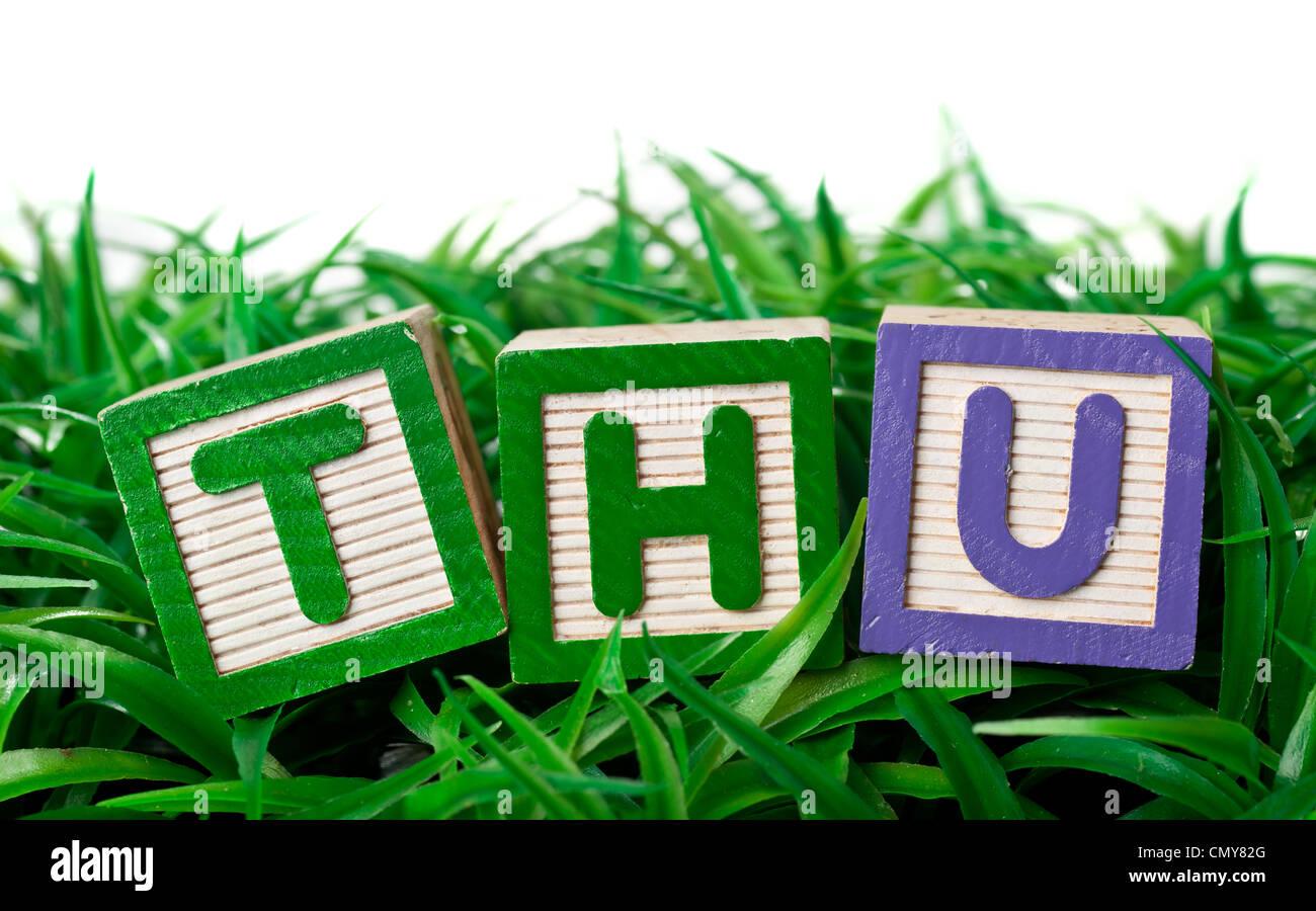 Blocs Alphabet lettres formant le jeu sur un patch d'herbe Photo Stock