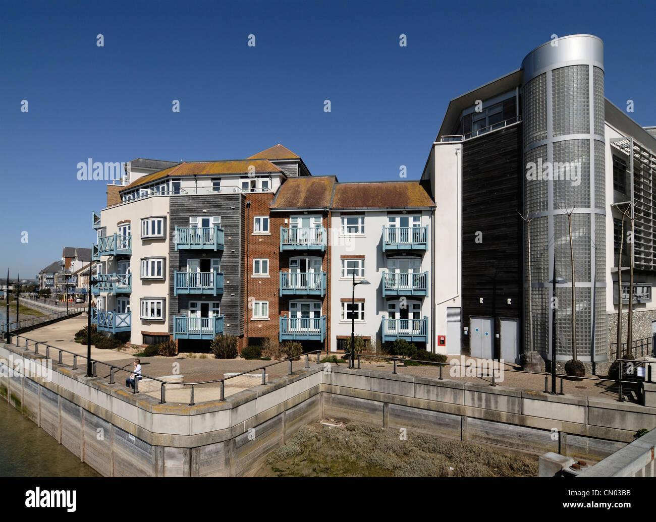 S'attaquer à la corde de Shoreham Centre West Sussex Riverside Apartments Photo Stock