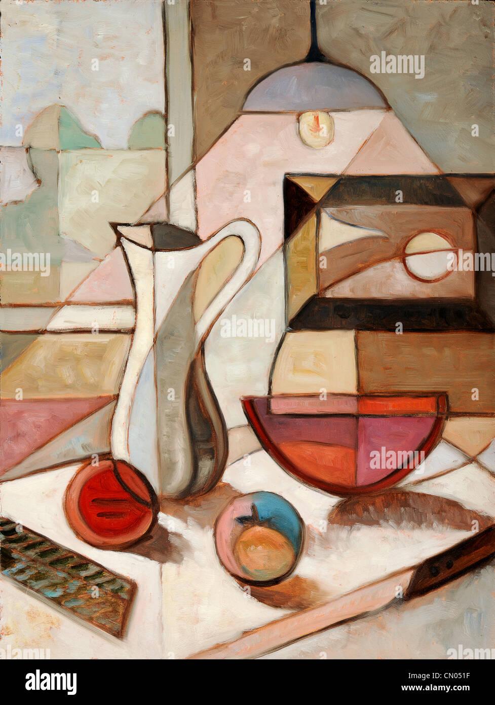 Peinture à l'huile abstraite de la nature morte avec cruche et fruits Photo Stock