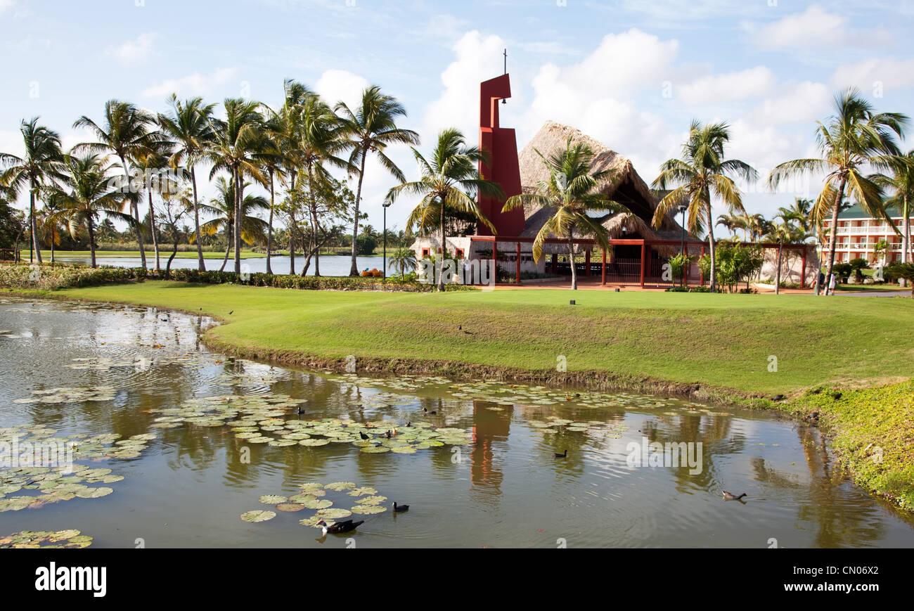 Palms près du lac à Punta Cana en République Dominicaine Photo Stock