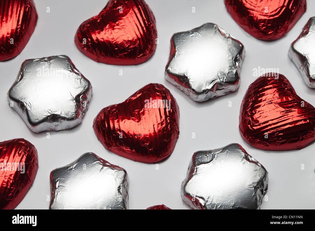 Des étoiles et des coeurs au chocolat Photo Stock