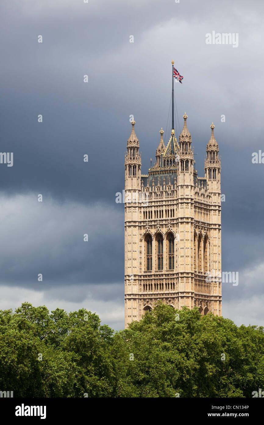 La Tour Victoria sur les chambres du Parlement, Londres, Angleterre, Royaume-Uni Photo Stock