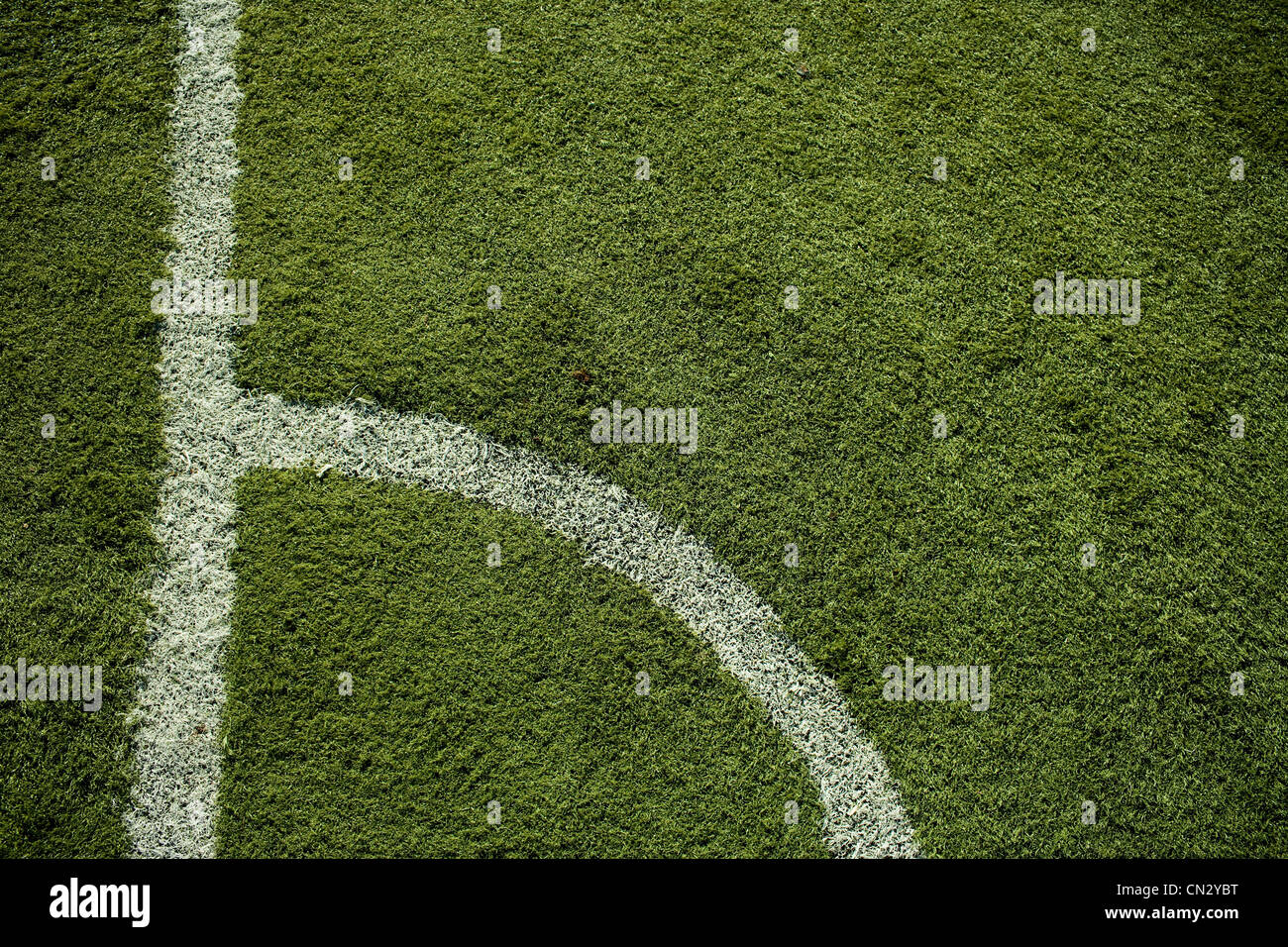 Inscriptions en ligne sur terrain de football Photo Stock