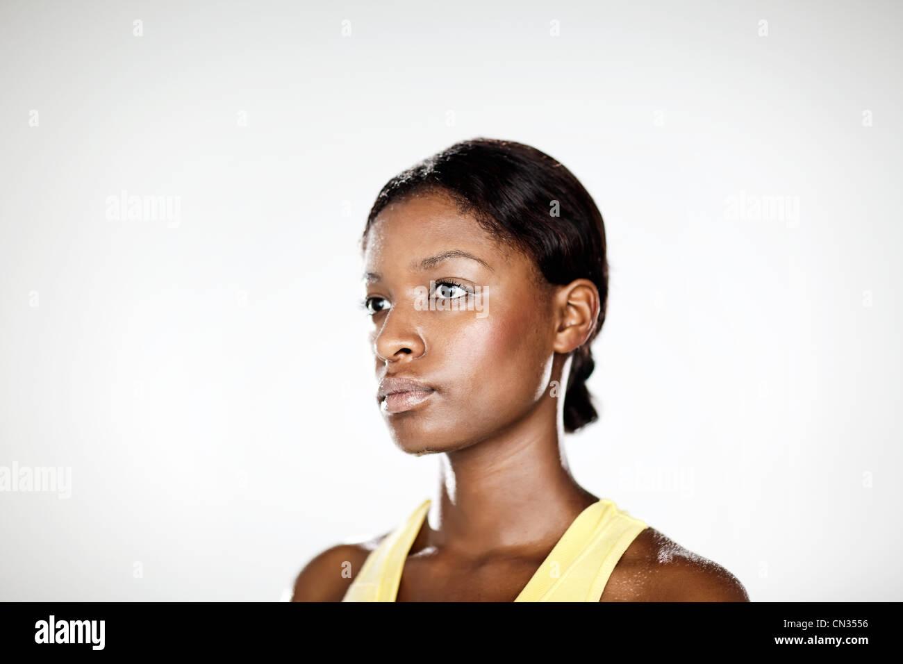 Athlète féminin, portrait Photo Stock