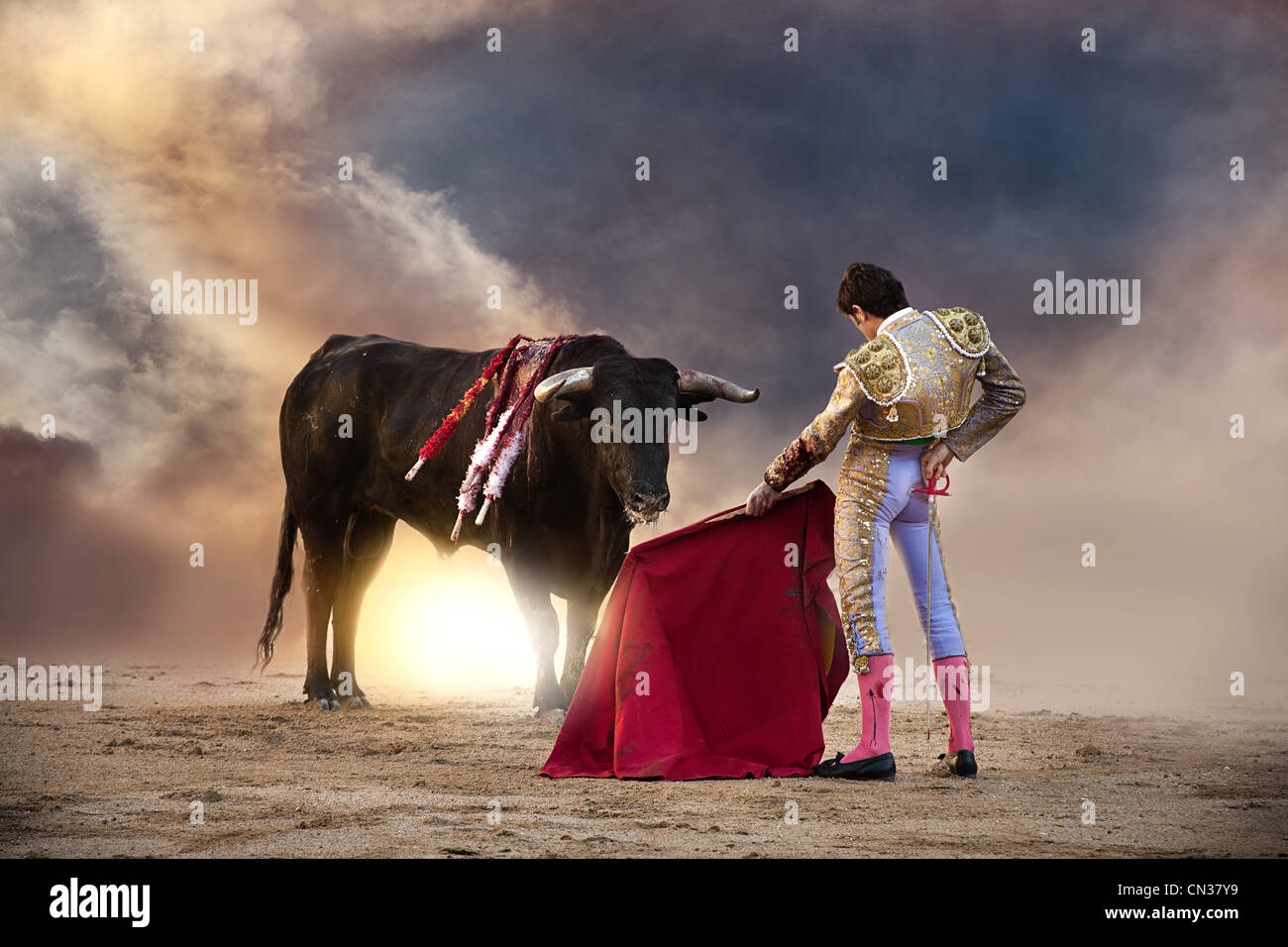 Torero holding cape rouge avec Bull, arènes de Las Ventas, Madrid Photo Stock