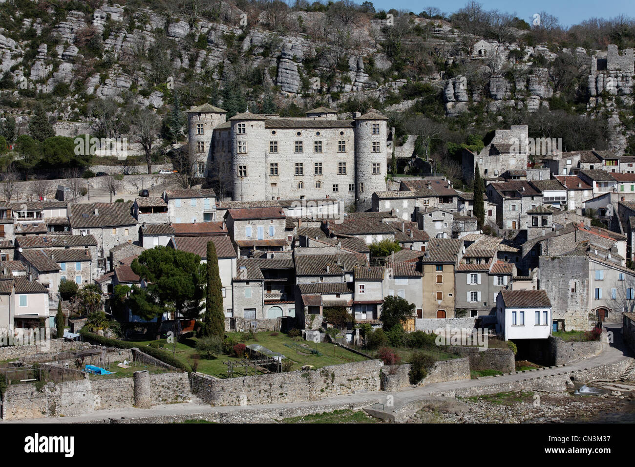 La France, l'Ardèche, Vogue, étiqueté Les Plus Beaux Villages de France (Les Plus Beaux Villages Photo Stock