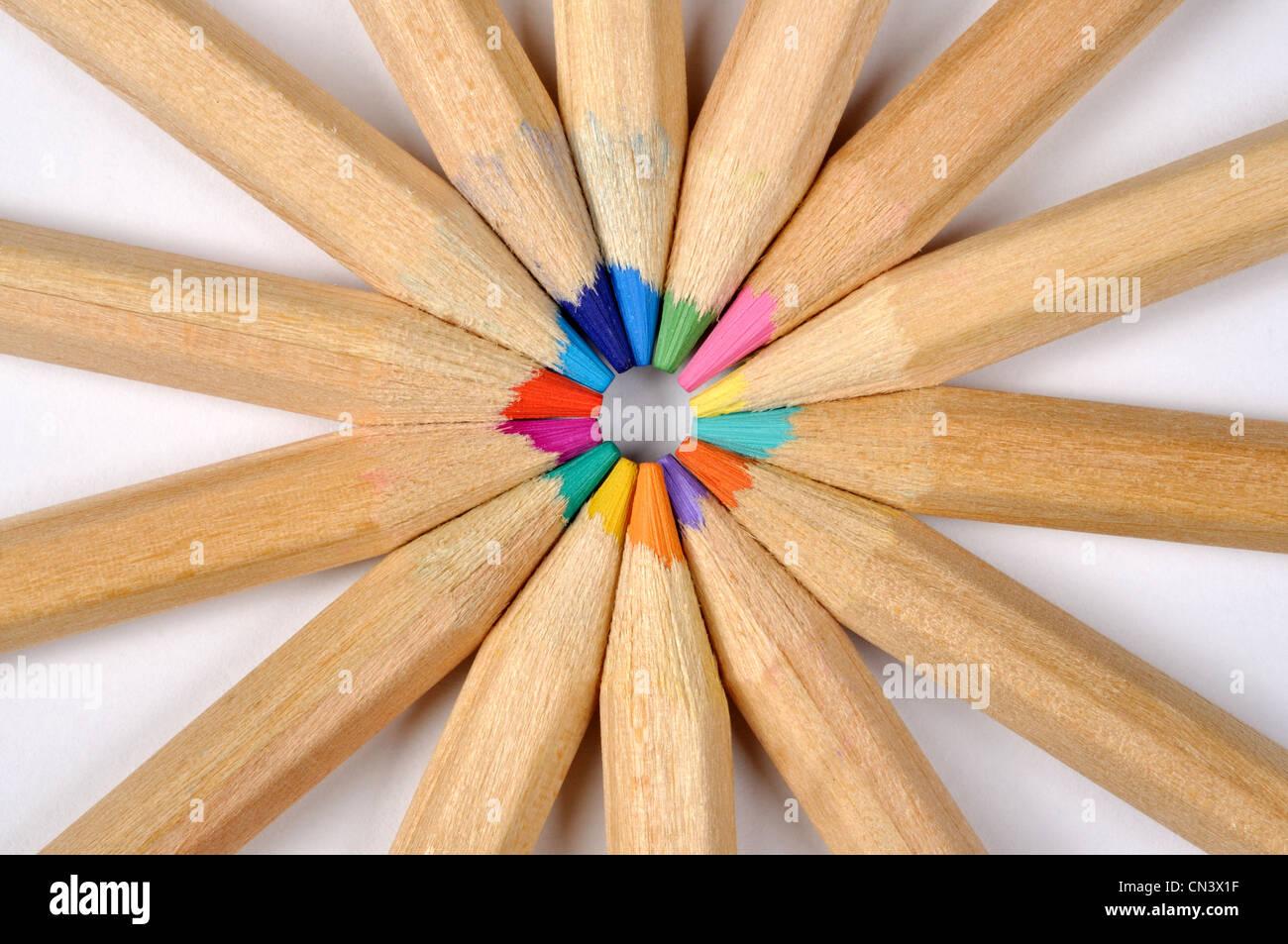 Crayons de couleur, de macro peut être utilisé comme arrière-plan Photo Stock