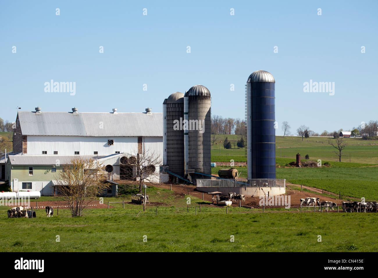 Mennonite Amish farm dans le comté de Lancaster en Pennsylvanie aux États-Unis. Photo Stock