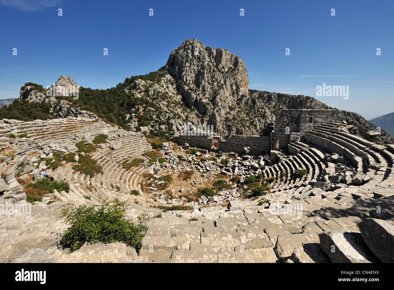 La Turquie, Méditerranée, Côte Turquoise, Pamphylie, Termessos, site du théâtre Photo Stock
