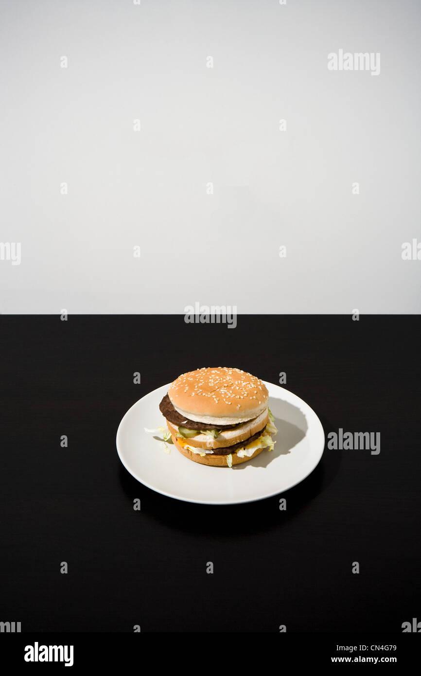 Hamburger sur la plaque Photo Stock