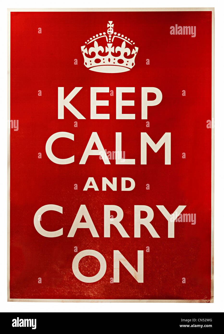 Affiche de guerre britannique publié en 1939, Keep calm and carry on, England, UK Photo Stock