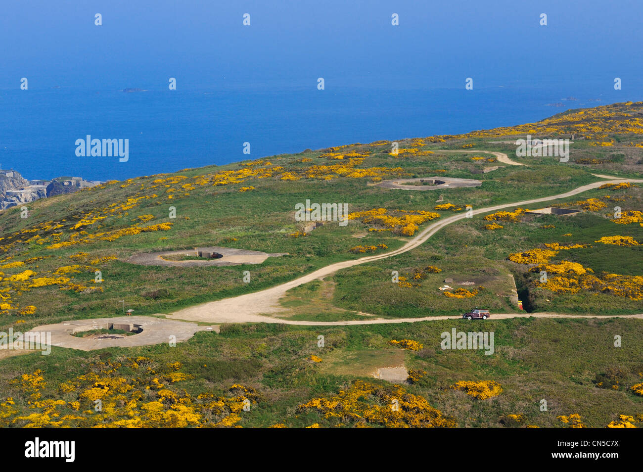 Royaume-uni, îles Anglo-Normandes, Aurigny (vue aérienne) Photo Stock