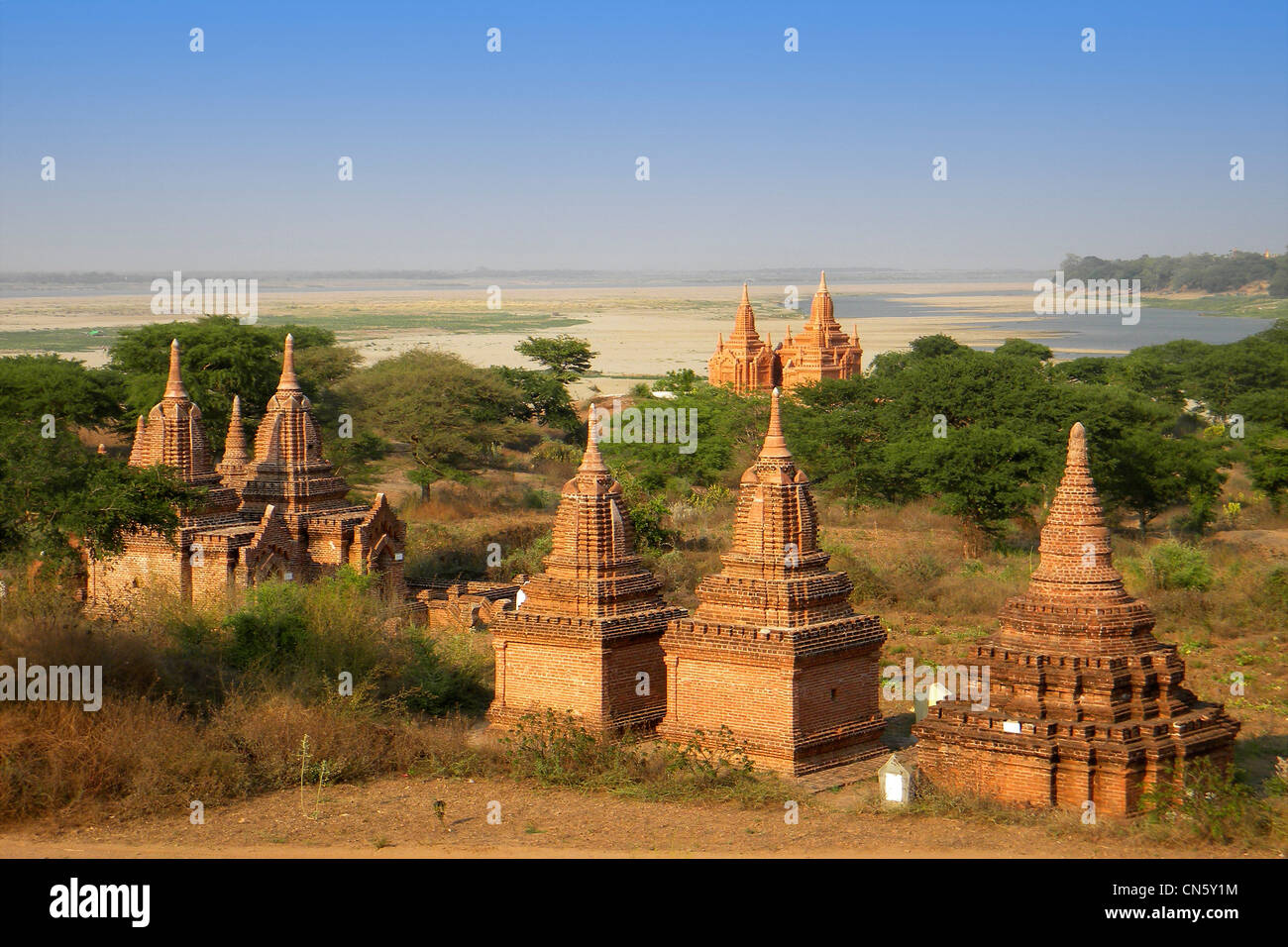 Voir des temples dans la plaine de Bagan, Myanmar Banque D'Images