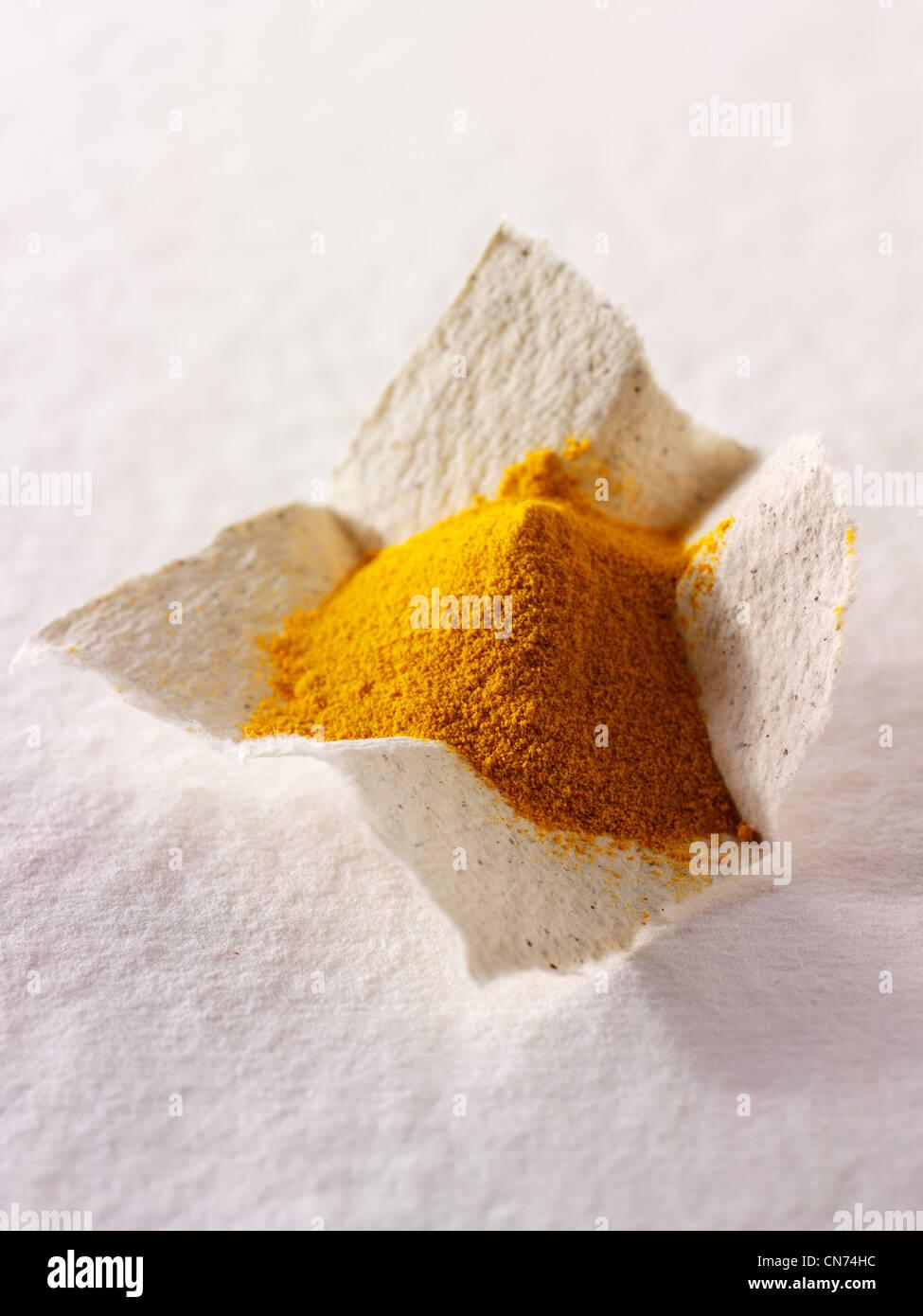 Sol curcuma poudre d'épices Photo Stock