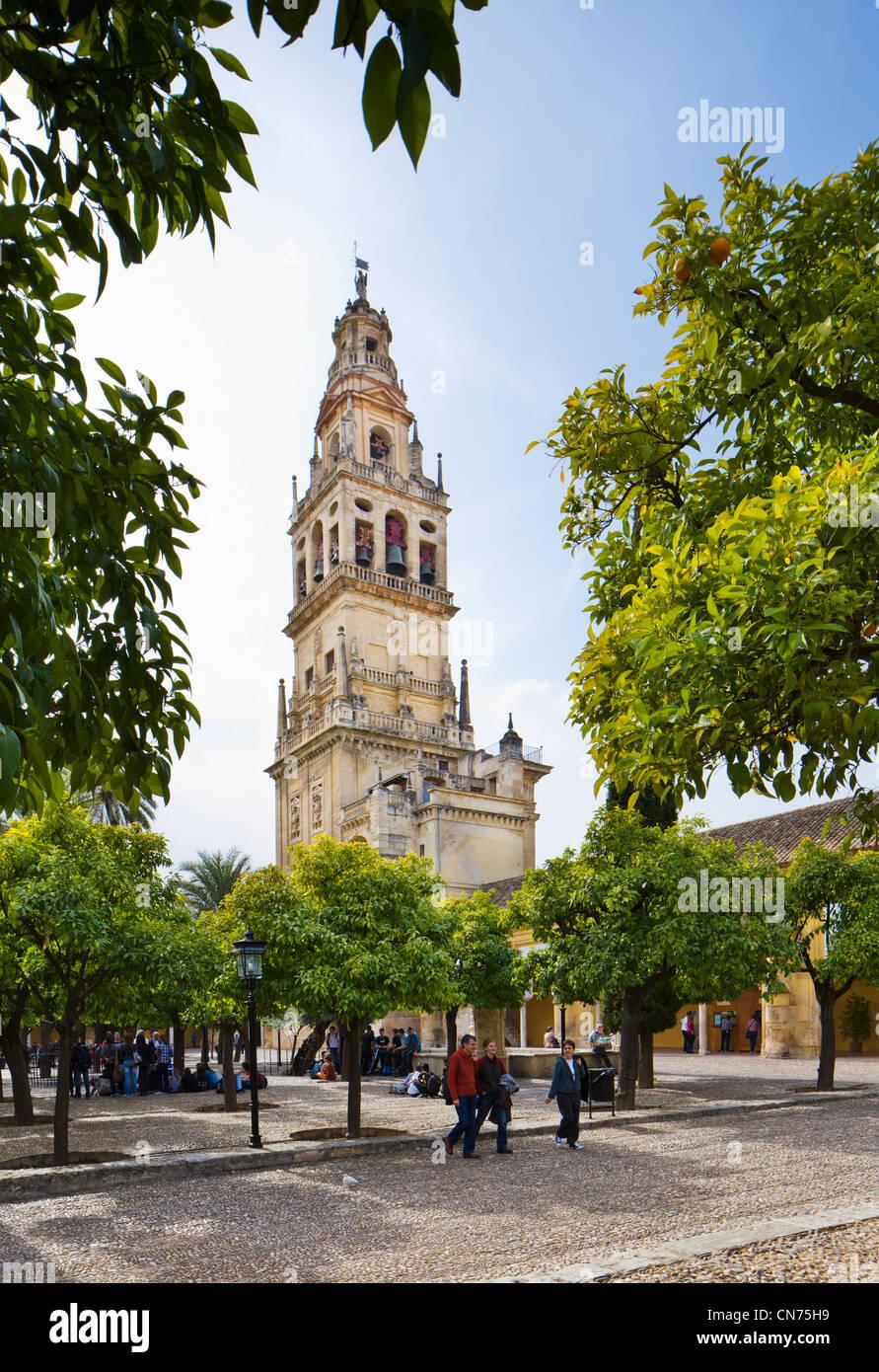 La Torre de Alminar et le Patio de los Naranjos dans les motifs de la Mezquita (Cathedral-Mosque), Cordoue, Andalousie, Photo Stock