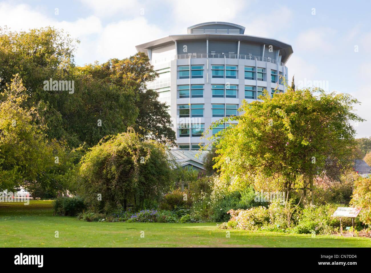 Christchurch Womens Hospital car il surplombe le Parc Hagley, Christchurch, Nouvelle-Zélande. Photo Stock