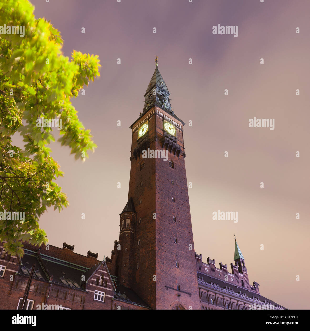 Clock Tower lit up at night Photo Stock