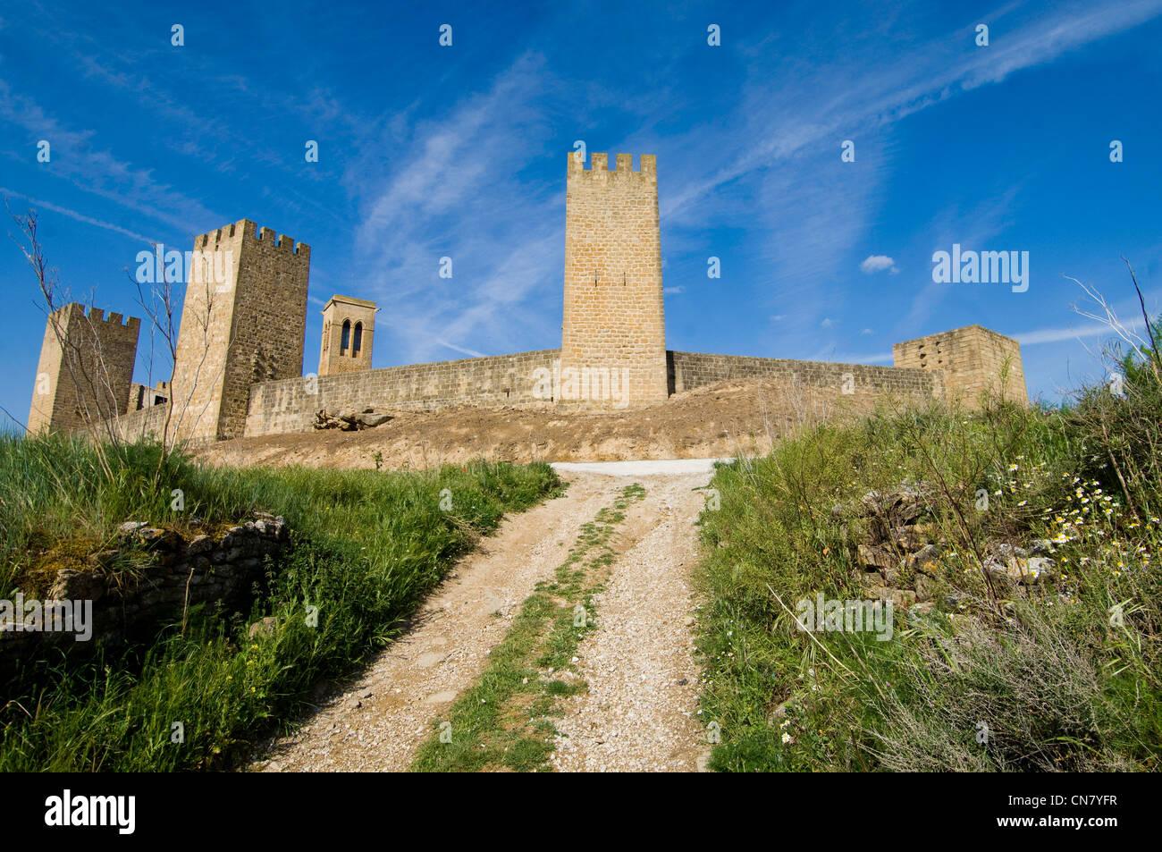 L'Espagne, Navarre, Artajona, la forteresse, en date du 11e siècle Photo Stock