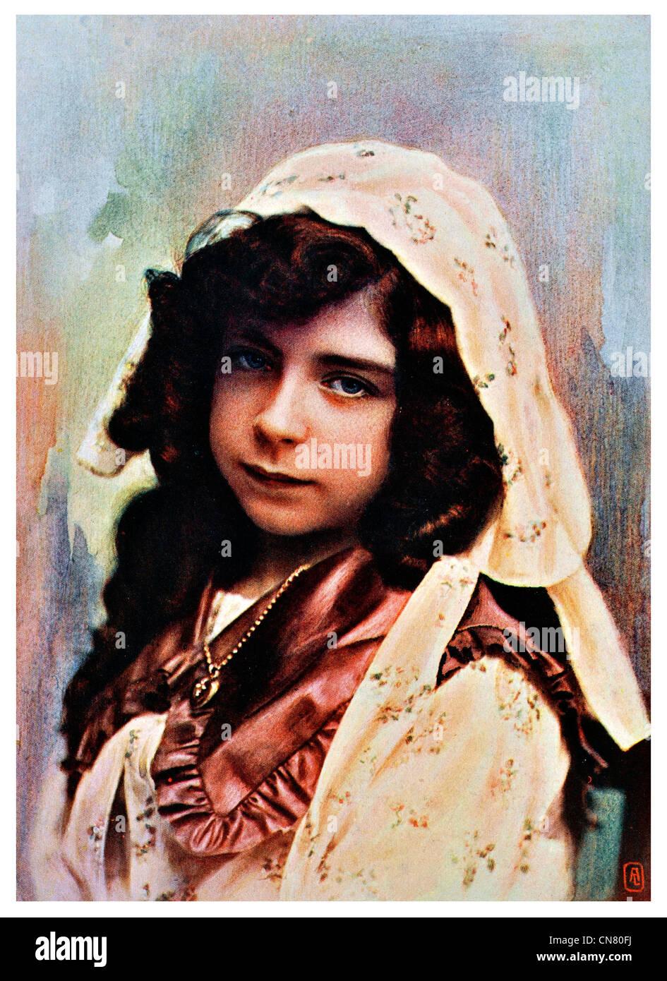 Modèle d'étude portrait girl 1900 Photo Stock
