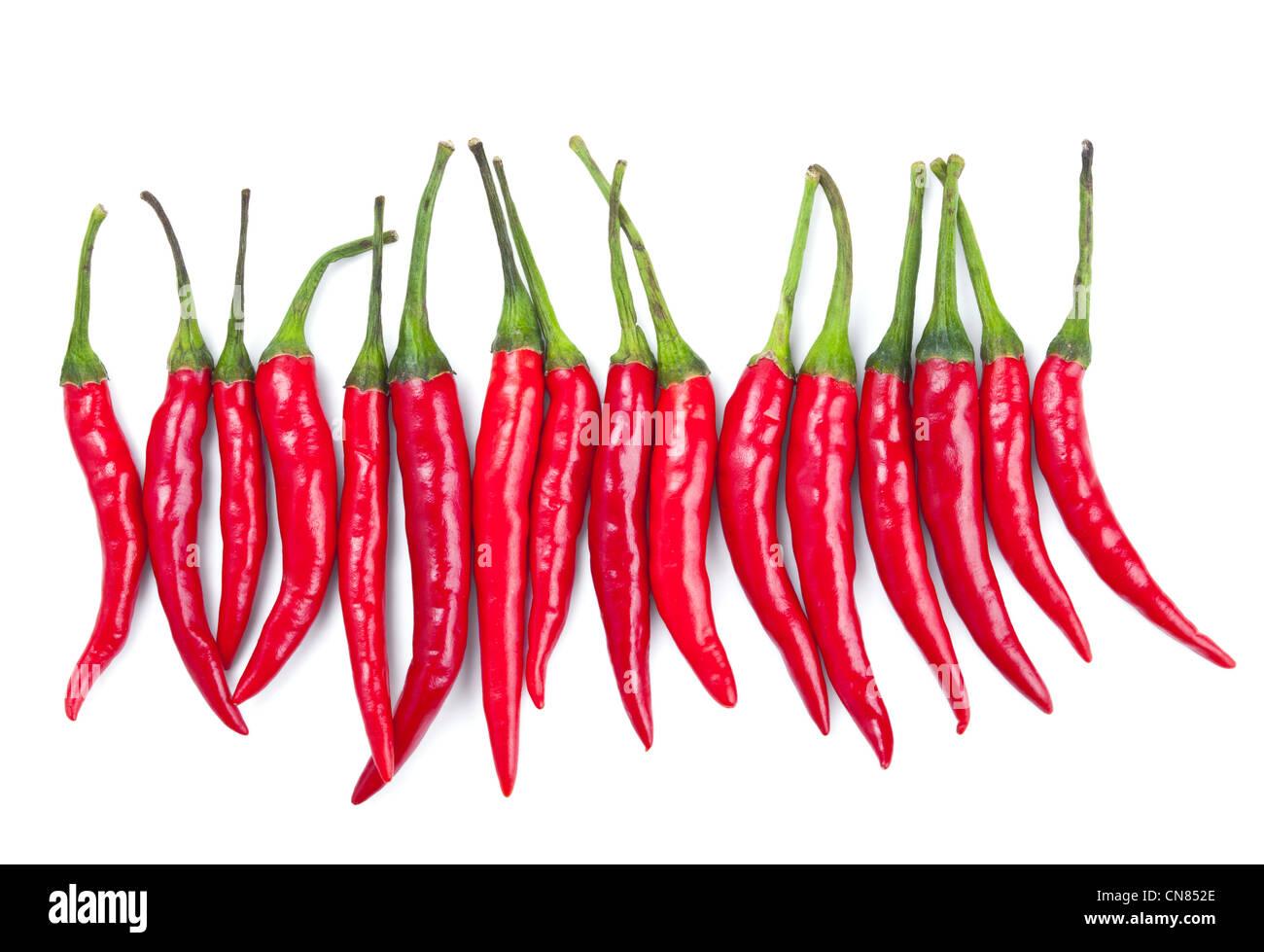 Piment rouge isolé sur fond blanc Photo Stock