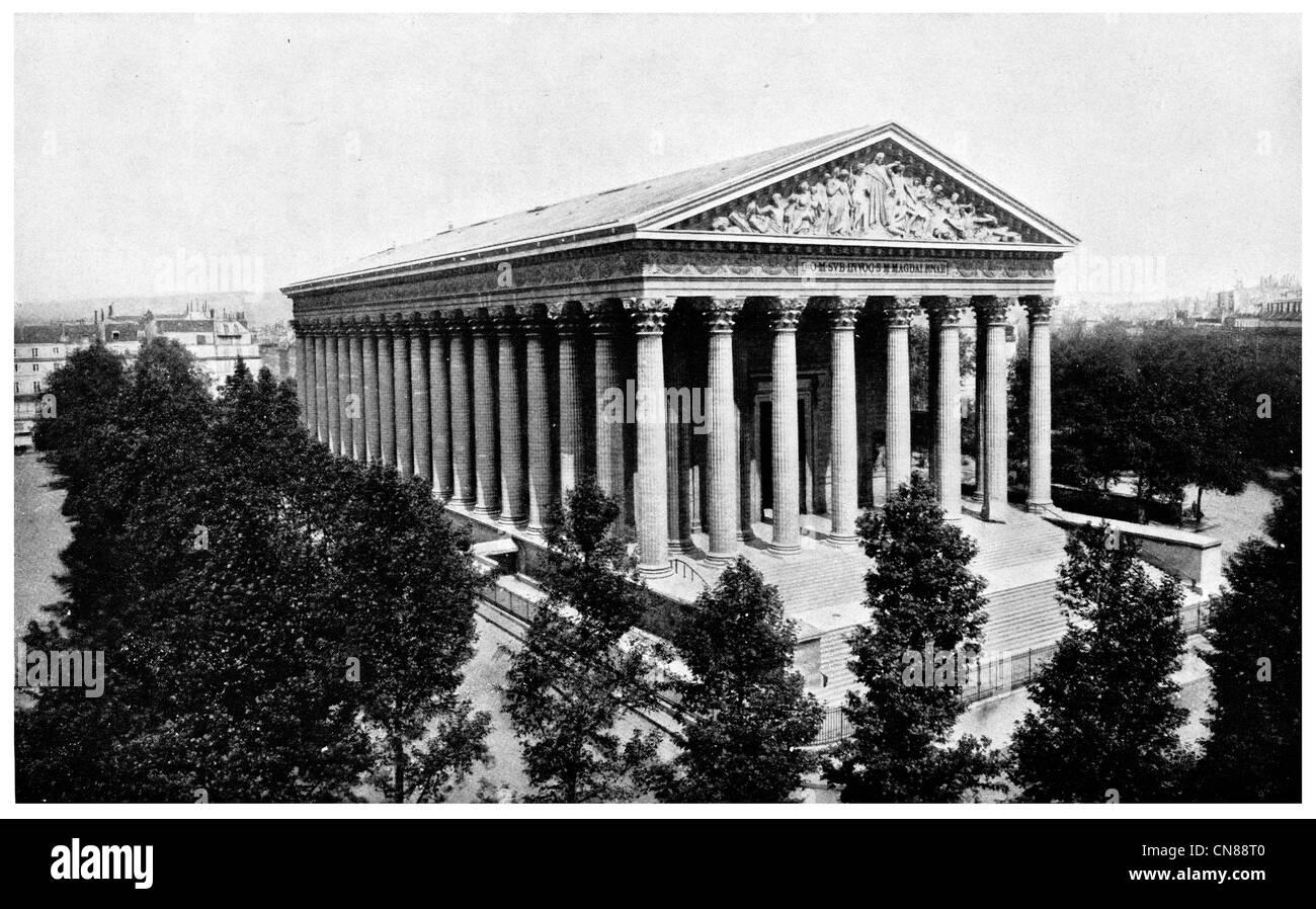 D'abord publié 1915 Eglise de la Madeleine Paris France Banque D'Images