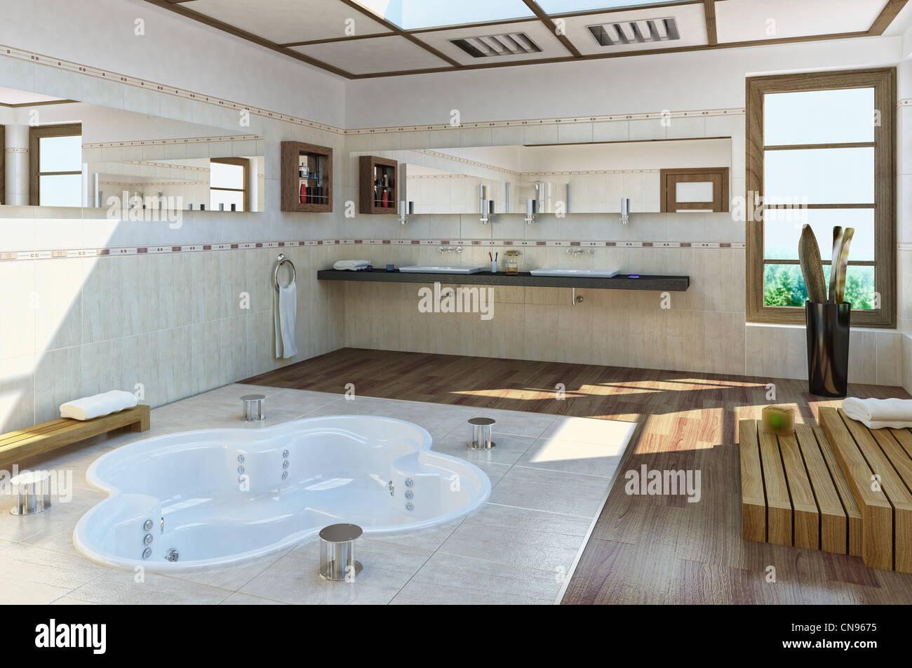 Grande salle de bains de luxe avec baignoire dans le sol Banque D ...