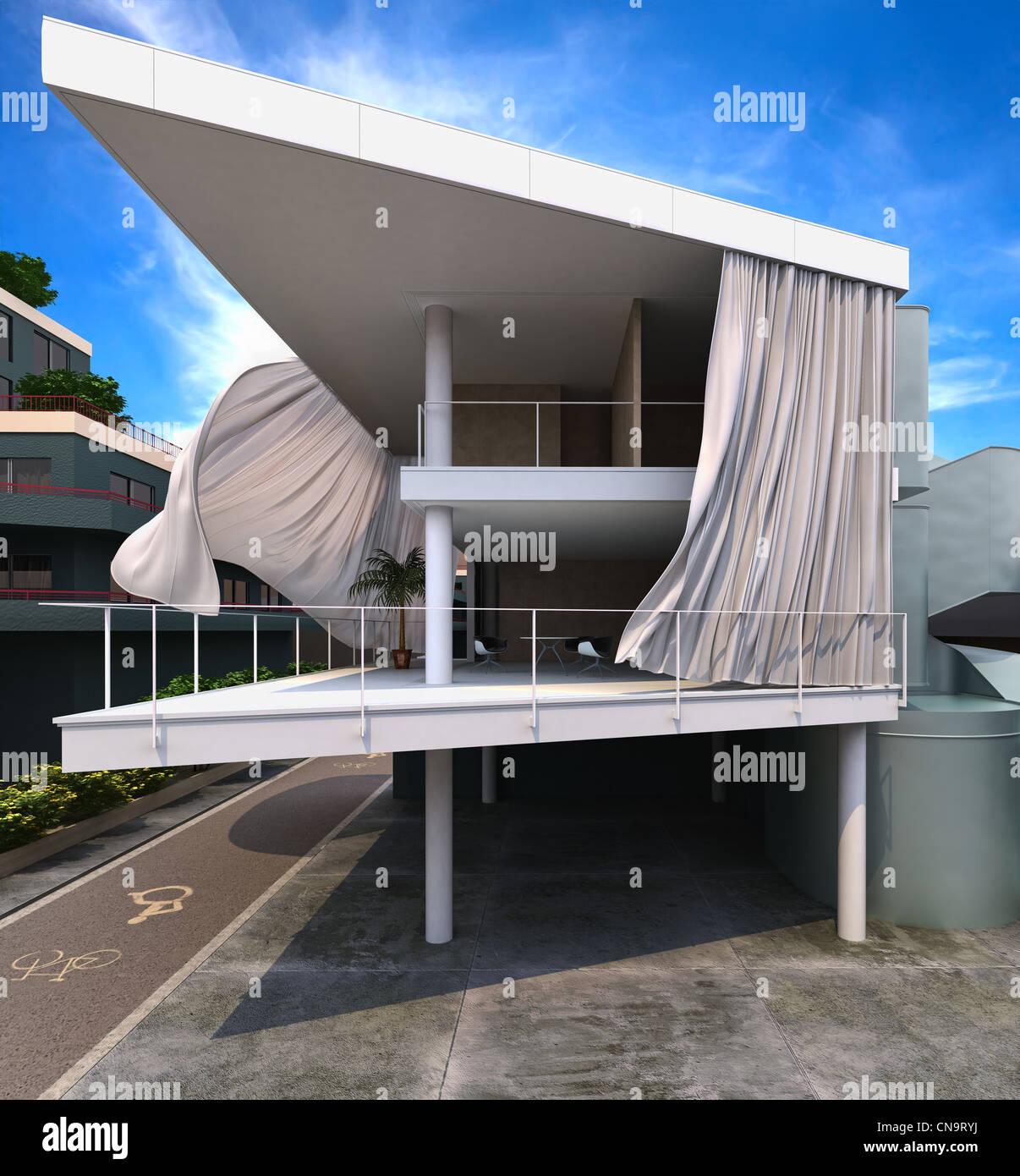 Extérieur de maison moderne avec des rideaux dans le vent ...