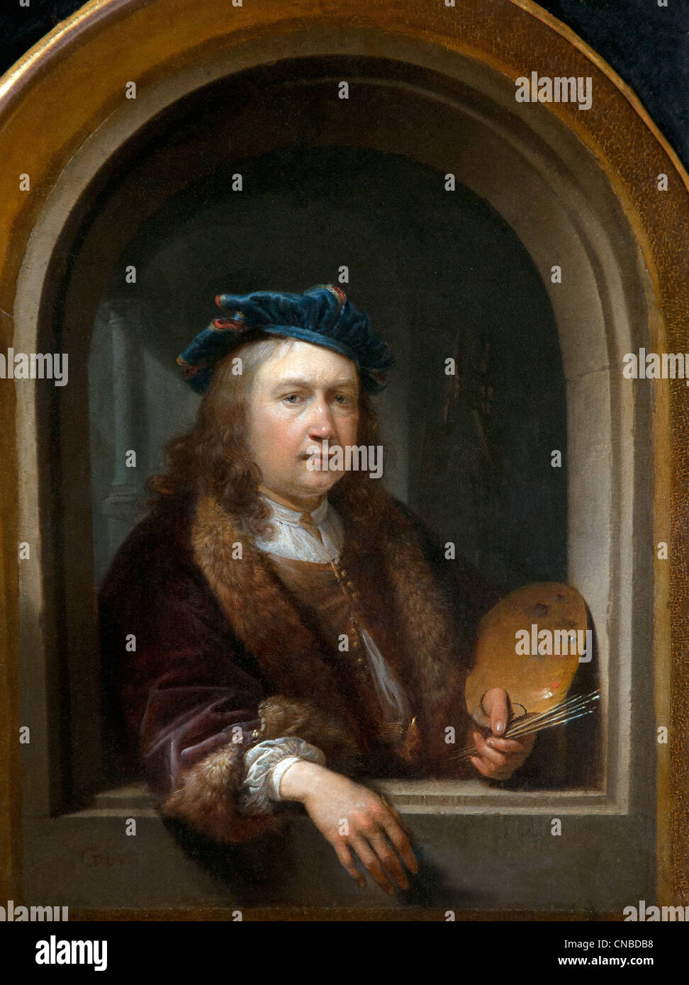 Self-portrait with palette dans un nicheGerard DOU 1613 - 1675 Pays-Bas Néerlandais Photo Stock