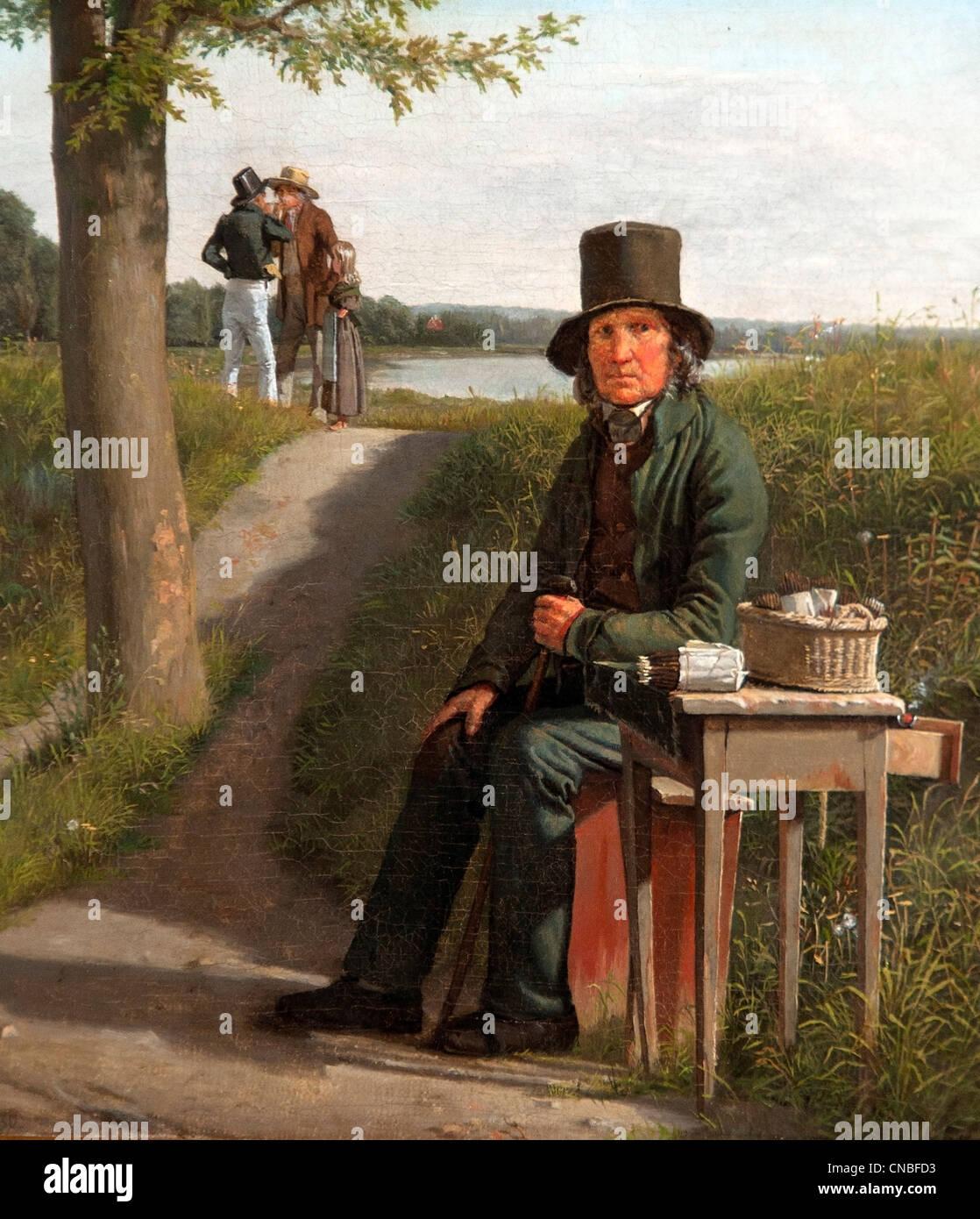 Détaillant du cigare à la porte nord de la Citadelle de Copenhague 1830 par Christen Kobke 1810 - 1848 Photo Stock