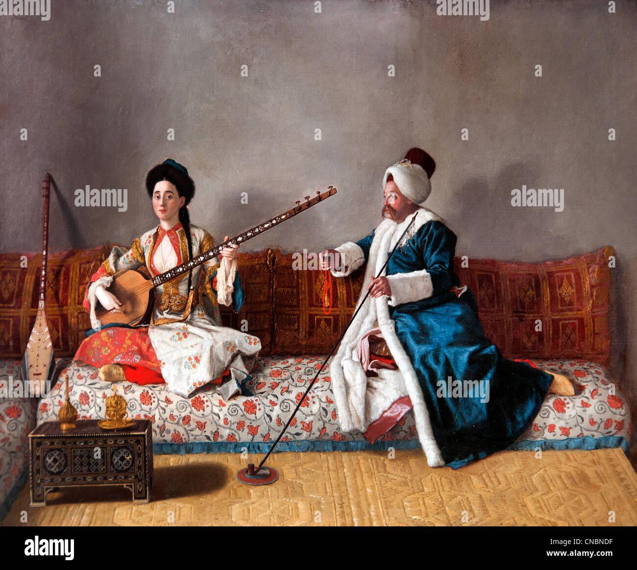 Monsieur Levett et Mademoiselle en costume turc Glavani Français Jean-étienne Liotard Constantinople Suisse Photo Stock