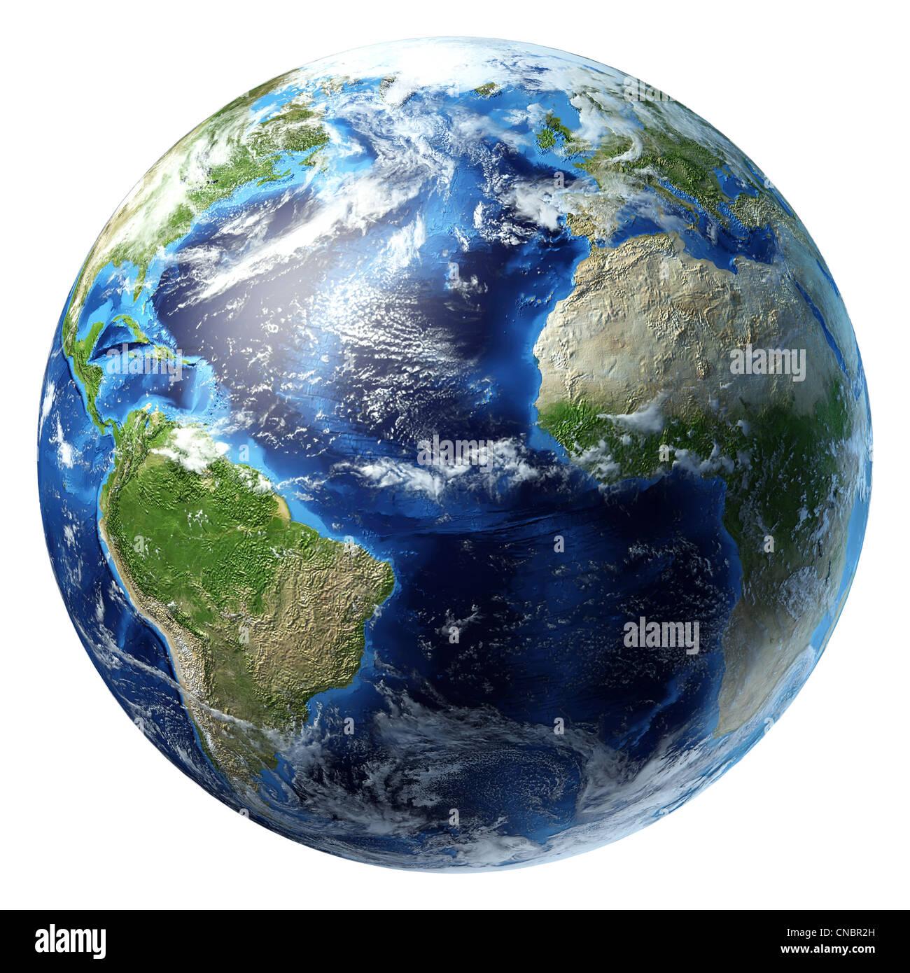 La planète terre avec quelques nuages. Vue sur l'océan Atlantique. Photo Stock
