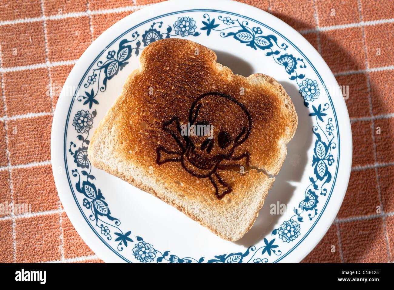 Crâne et os croisés brûlé dans un morceau de pain grillé sur une plaque allergie au gluten Photo Stock