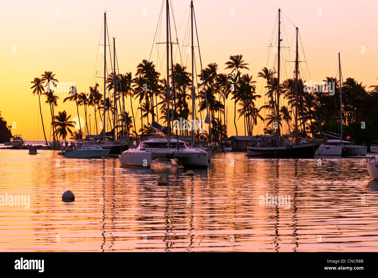 Sainte-lucie, Marigot Bay au coucher du soleil Photo Stock